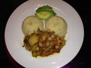 Chickpea vegetable curry with Couscous and Avocado